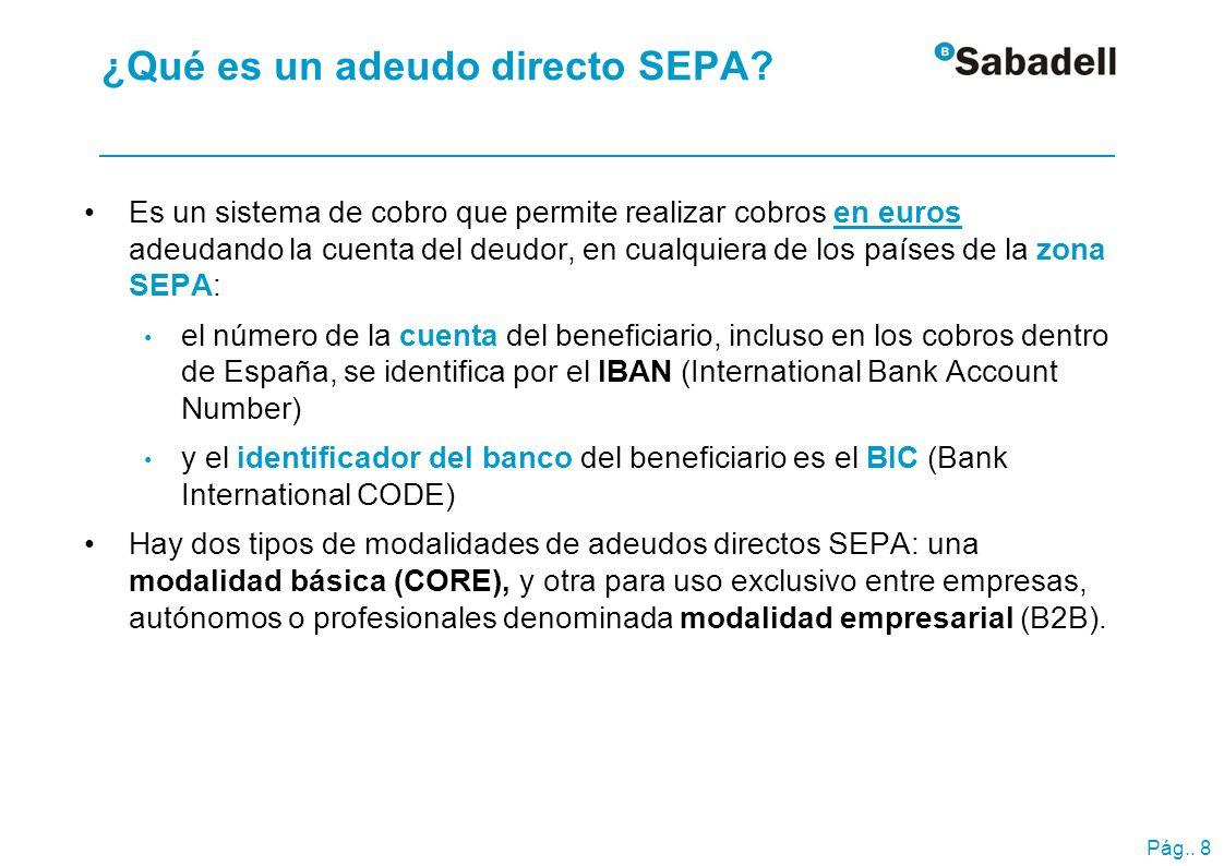 Pág.. 8 ¿Qué es un adeudo directo SEPA? Es un sistema de cobro que permite realizar cobros en euros adeudando la cuenta del deudor, en cualquiera de l