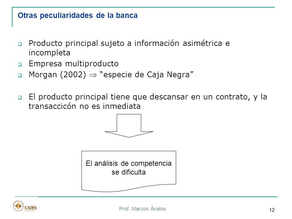 Prof. Marcos Ávalos Otras peculiaridades de la banca Producto principal sujeto a información asimétrica e incompleta Empresa multiproducto Morgan (200