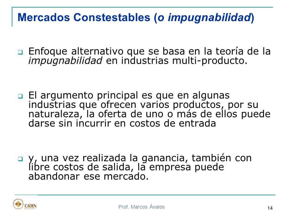 Prof. Marcos Ávalos Mercados Constestables (o impugnabilidad) Enfoque alternativo que se basa en la teoría de la impugnabilidad en industrias multi-pr