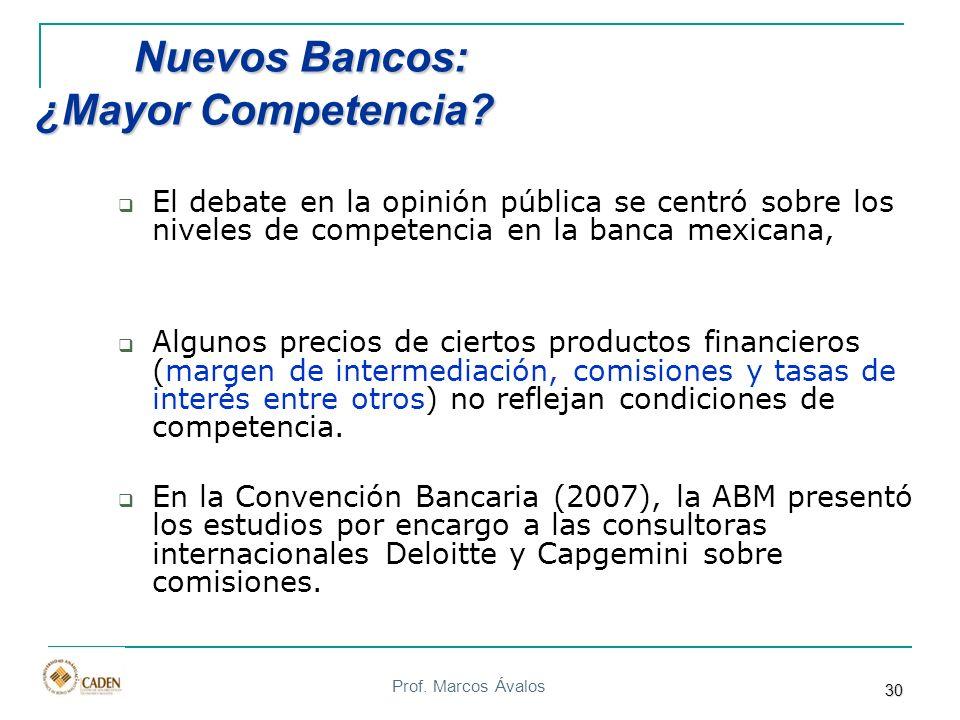 Prof. Marcos Ávalos 30 Nuevos Bancos: ¿Mayor Competencia? Nuevos Bancos: ¿Mayor Competencia? El debate en la opinión pública se centró sobre los nivel