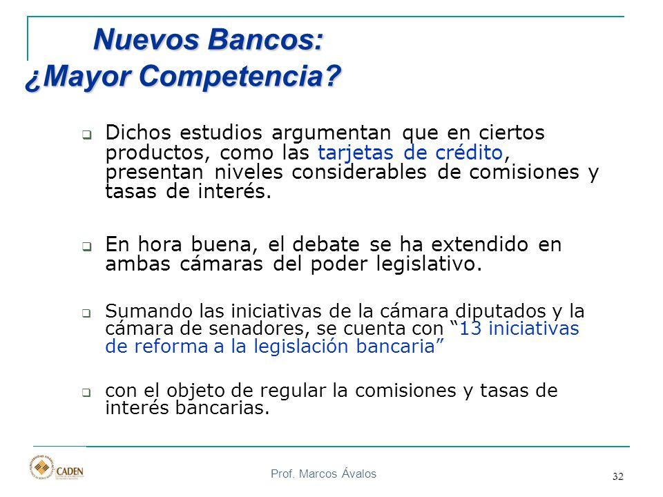 Prof. Marcos Ávalos 32 Nuevos Bancos: ¿Mayor Competencia? Nuevos Bancos: ¿Mayor Competencia? Dichos estudios argumentan que en ciertos productos, como