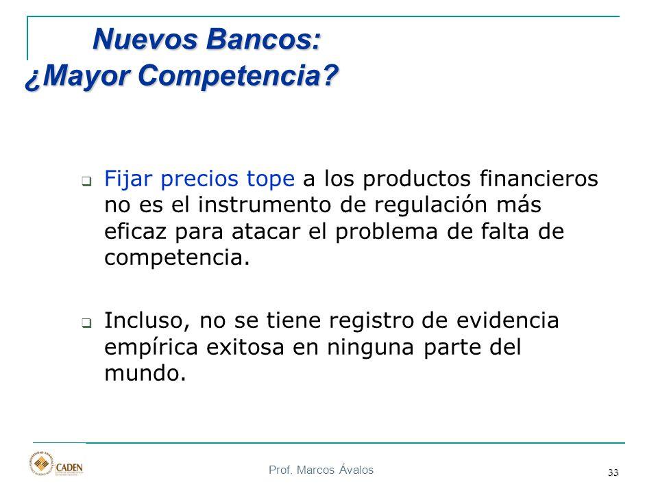 Prof. Marcos Ávalos 33 Nuevos Bancos: ¿Mayor Competencia? Nuevos Bancos: ¿Mayor Competencia? Fijar precios tope a los productos financieros no es el i