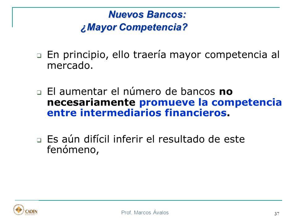 Prof. Marcos Ávalos 37 En principio, ello traería mayor competencia al mercado. El aumentar el número de bancos no necesariamente promueve la competen