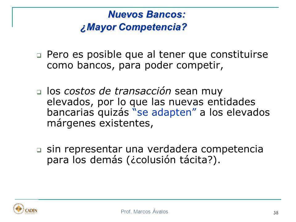 Prof. Marcos Ávalos 38 Pero es posible que al tener que constituirse como bancos, para poder competir, los costos de transacción sean muy elevados, po