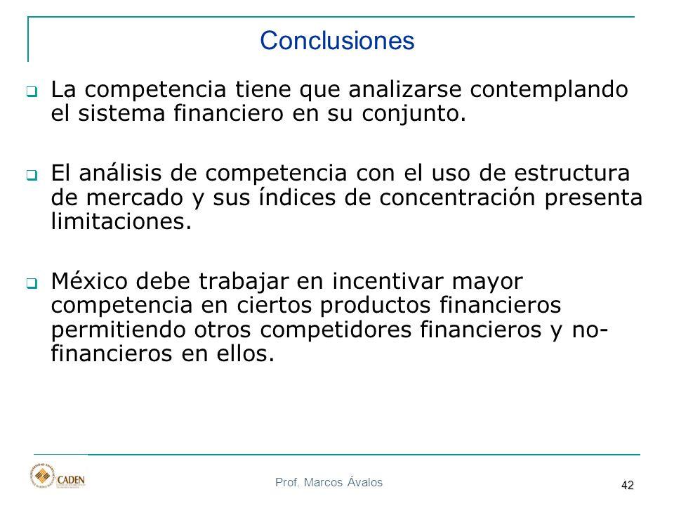 Prof. Marcos Ávalos Conclusiones La competencia tiene que analizarse contemplando el sistema financiero en su conjunto. El análisis de competencia con