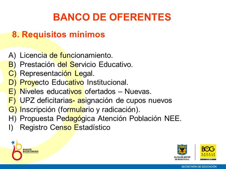 BANCO DE OFERENTES 8. Requisitos mínimos A)Licencia de funcionamiento. B)Prestación del Servicio Educativo. C)Representación Legal. D)Proyecto Educati