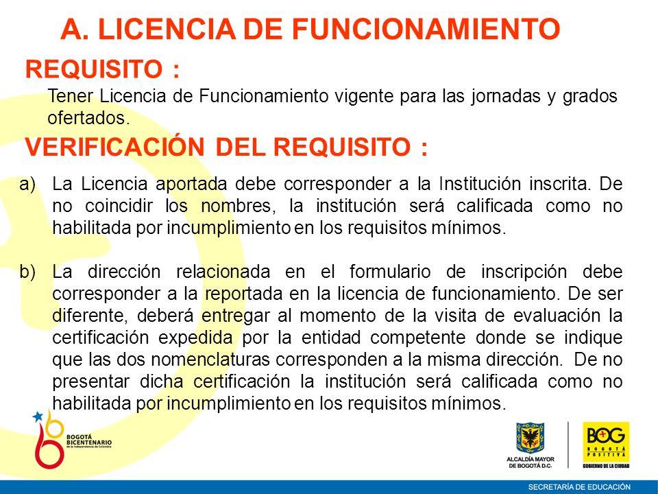 Tener Licencia de Funcionamiento vigente para las jornadas y grados ofertados. A. LICENCIA DE FUNCIONAMIENTO REQUISITO : VERIFICACIÓN DEL REQUISITO :