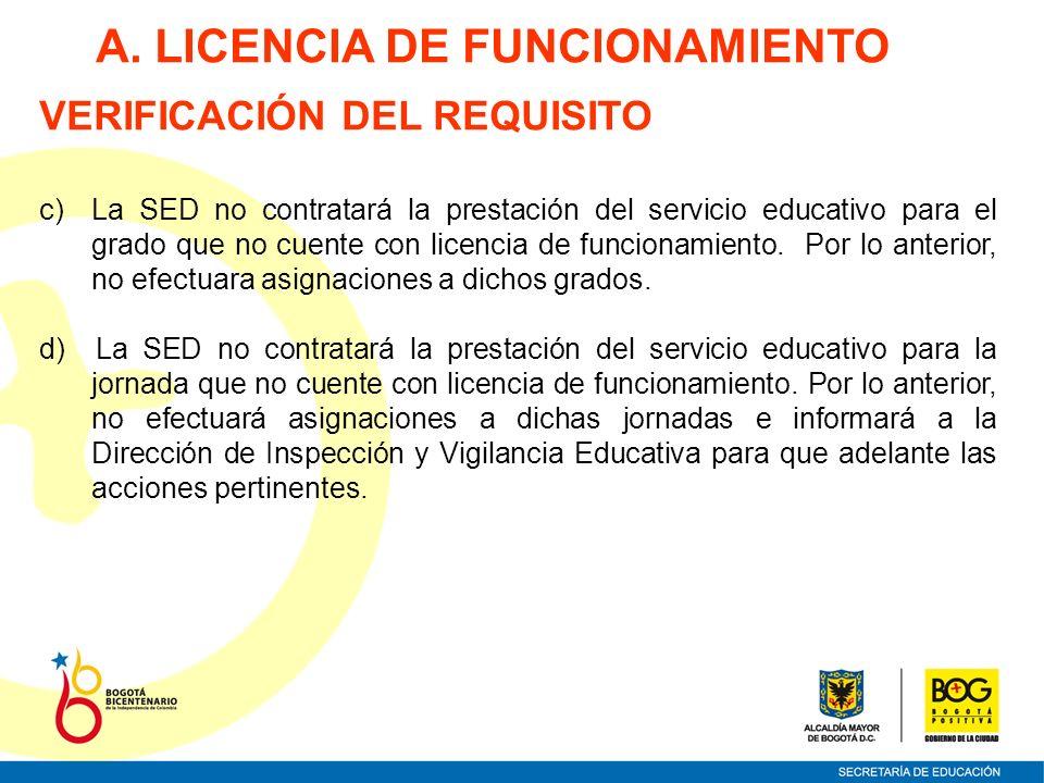 A. LICENCIA DE FUNCIONAMIENTO VERIFICACIÓN DEL REQUISITO c)La SED no contratará la prestación del servicio educativo para el grado que no cuente con l