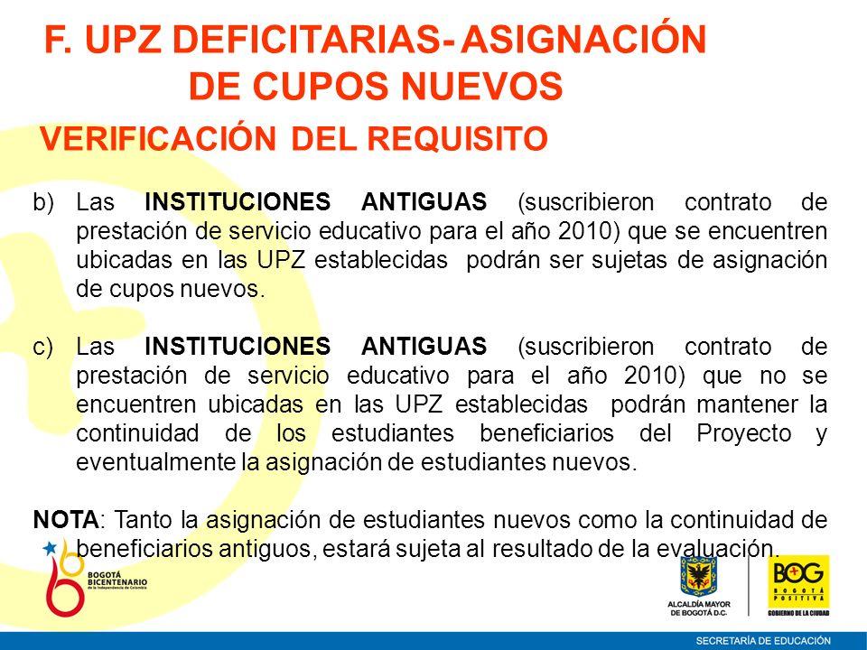VERIFICACIÓN DEL REQUISITO b)Las INSTITUCIONES ANTIGUAS (suscribieron contrato de prestación de servicio educativo para el año 2010) que se encuentren