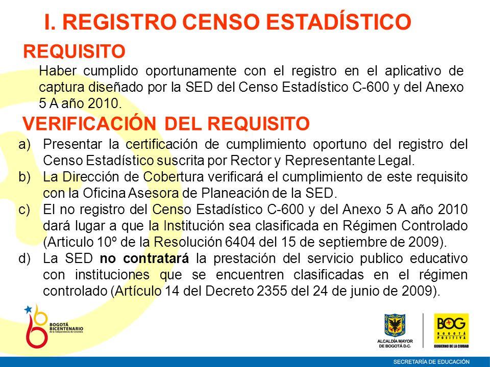 I. REGISTRO CENSO ESTADÍSTICO VERIFICACIÓN DEL REQUISITO a)Presentar la certificación de cumplimiento oportuno del registro del Censo Estadístico susc