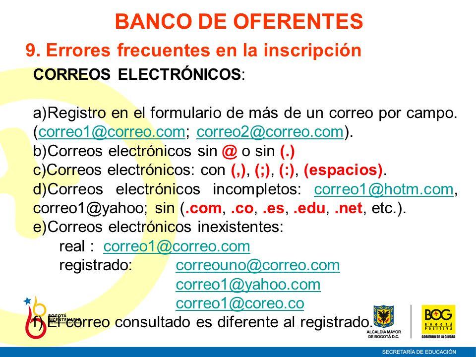 CORREOS ELECTRÓNICOS: a)Registro en el formulario de más de un correo por campo. (correo1@correo.com; correo2@correo.com).correo1@correo.comcorreo2@co