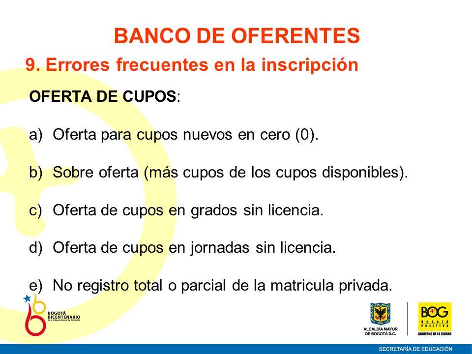 OFERTA DE CUPOS: a)Oferta para cupos nuevos en cero (0). b)Sobre oferta (más cupos de los cupos disponibles). c)Oferta de cupos en grados sin licencia