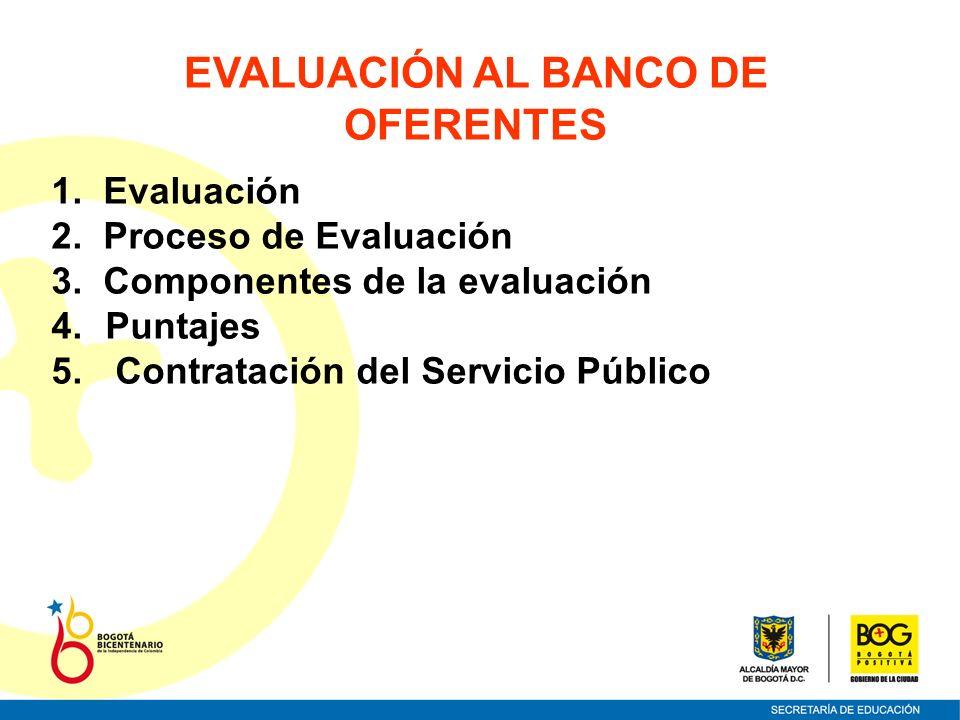EVALUACIÓN AL BANCO DE OFERENTES 1. Evaluación 2. Proceso de Evaluación 3. Componentes de la evaluación 4.Puntajes 5. Contratación del Servicio Públic