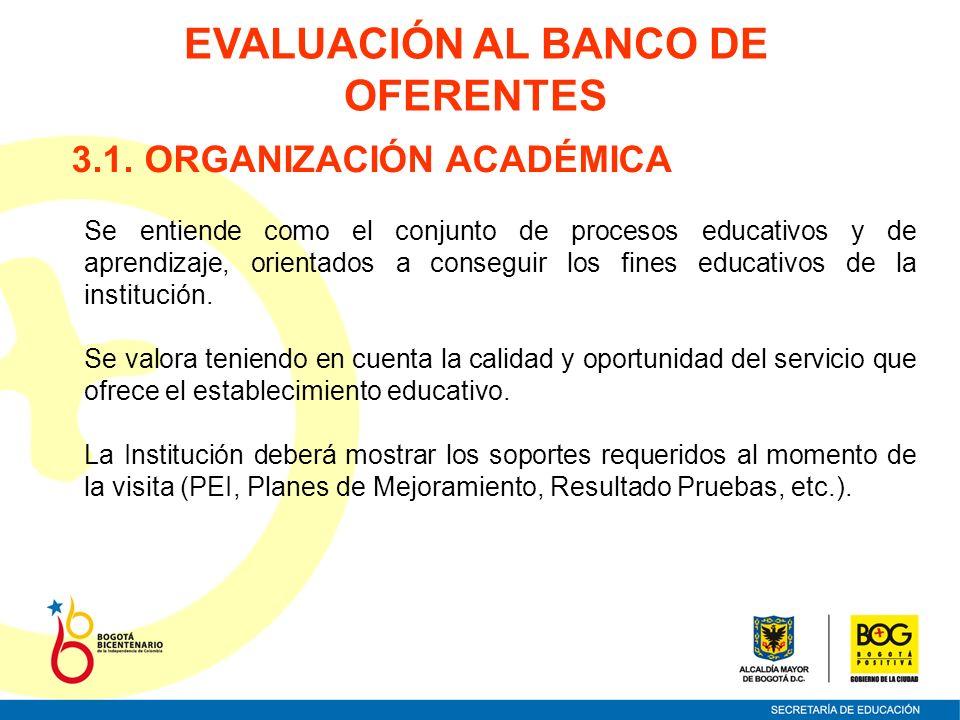 3.1. ORGANIZACIÓN ACADÉMICA Se entiende como el conjunto de procesos educativos y de aprendizaje, orientados a conseguir los fines educativos de la in