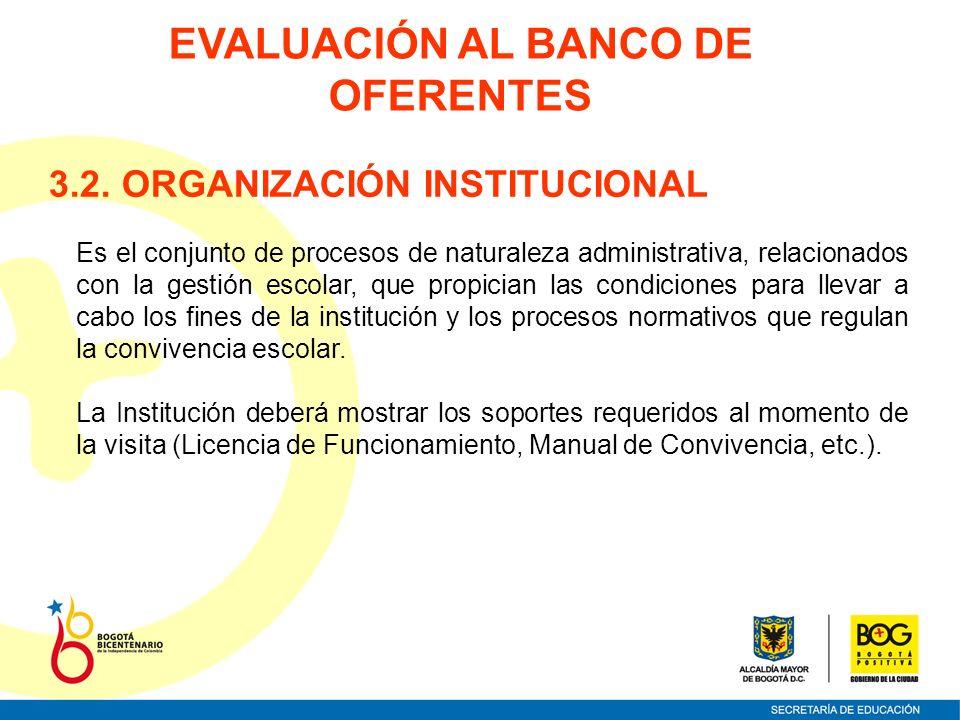 3.2. ORGANIZACIÓN INSTITUCIONAL Es el conjunto de procesos de naturaleza administrativa, relacionados con la gestión escolar, que propician las condic