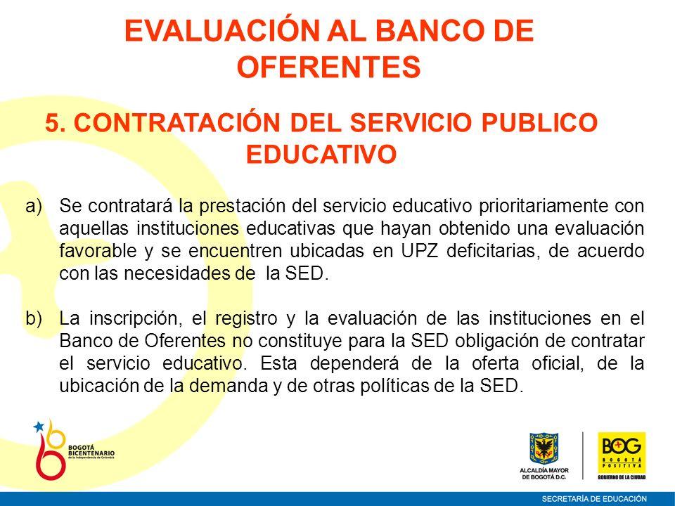 5. CONTRATACIÓN DEL SERVICIO PUBLICO EDUCATIVO a)Se contratará la prestación del servicio educativo prioritariamente con aquellas instituciones educat