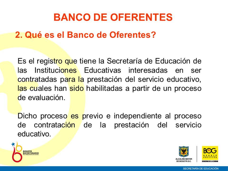 2. Qué es el Banco de Oferentes? Es el registro que tiene la Secretaría de Educación de las Instituciones Educativas interesadas en ser contratadas pa