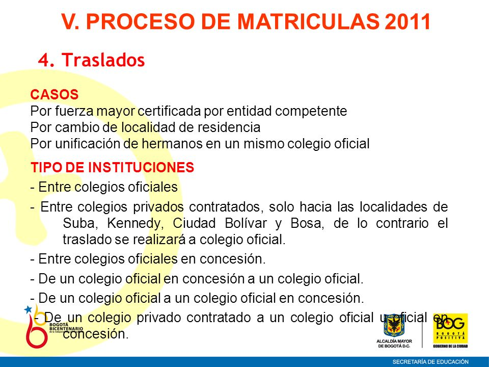 CASOS Por fuerza mayor certificada por entidad competente Por cambio de localidad de residencia Por unificación de hermanos en un mismo colegio oficia