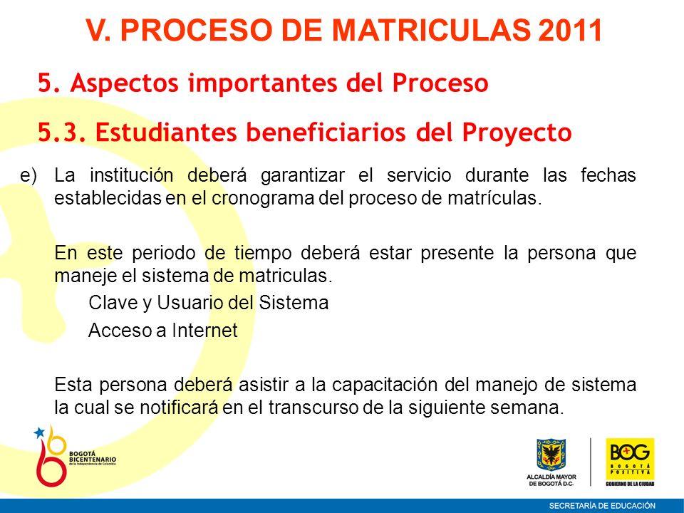 e)La institución deberá garantizar el servicio durante las fechas establecidas en el cronograma del proceso de matrículas. En este periodo de tiempo d