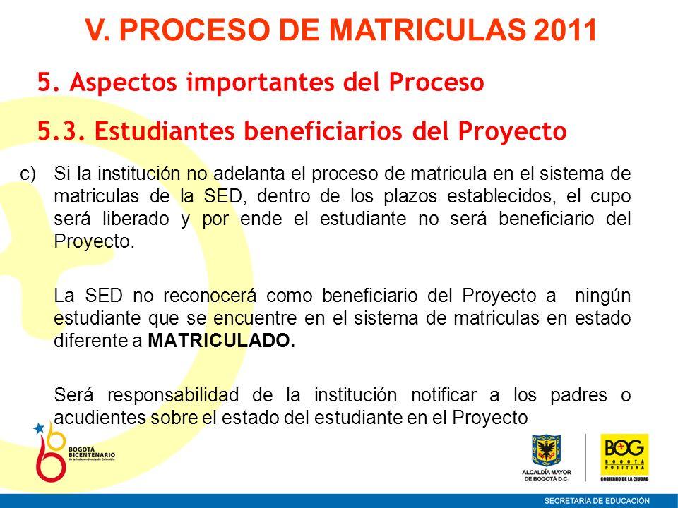 c)Si la institución no adelanta el proceso de matricula en el sistema de matriculas de la SED, dentro de los plazos establecidos, el cupo será liberad