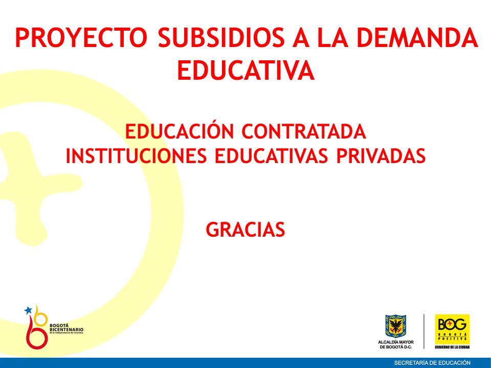 PROYECTO SUBSIDIOS A LA DEMANDA EDUCATIVA EDUCACIÓN CONTRATADA INSTITUCIONES EDUCATIVAS PRIVADAS GRACIAS
