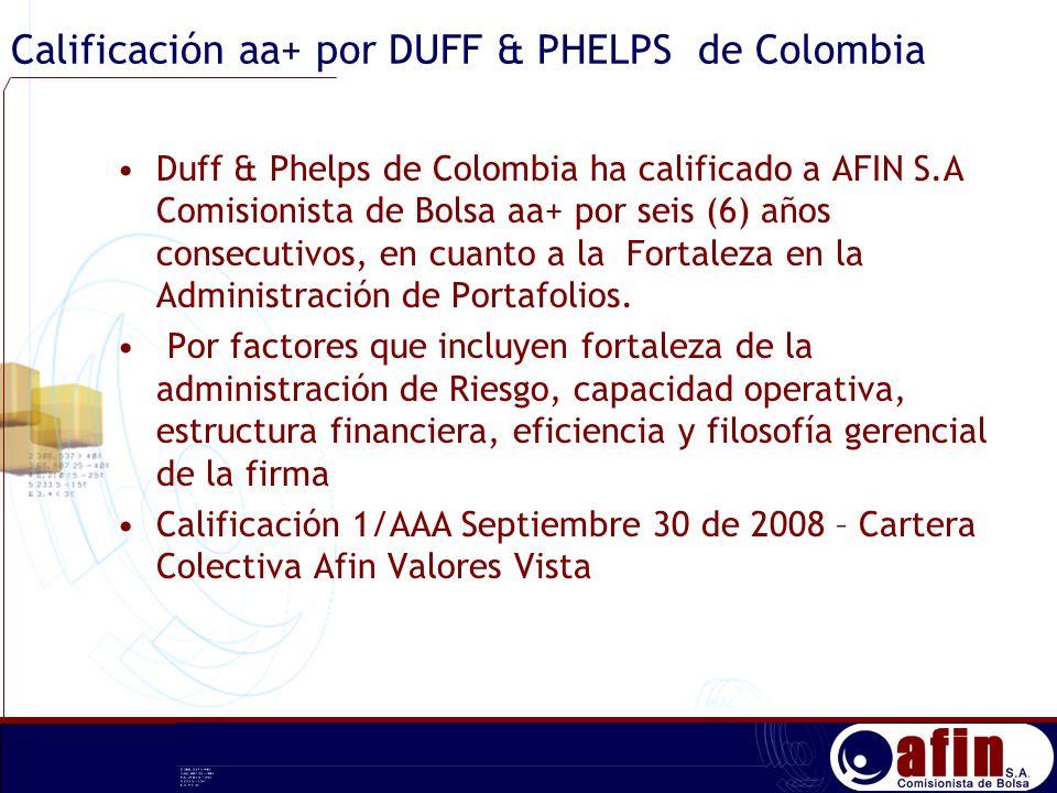 Calificación aa+ por DUFF & PHELPS de Colombia Duff & Phelps de Colombia ha calificado a AFIN S.A Comisionista de Bolsa aa+ por seis (6) años consecut