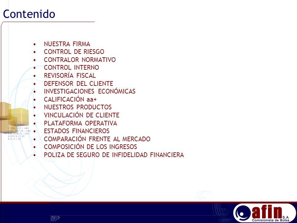 Contenido NUESTRA FIRMA CONTROL DE RIESGO CONTRALOR NORMATIVO CONTROL INTERNO REVISORÍA FISCAL DEFENSOR DEL CLIENTE INVESTIGACIONES ECONÓMICAS CALIFIC
