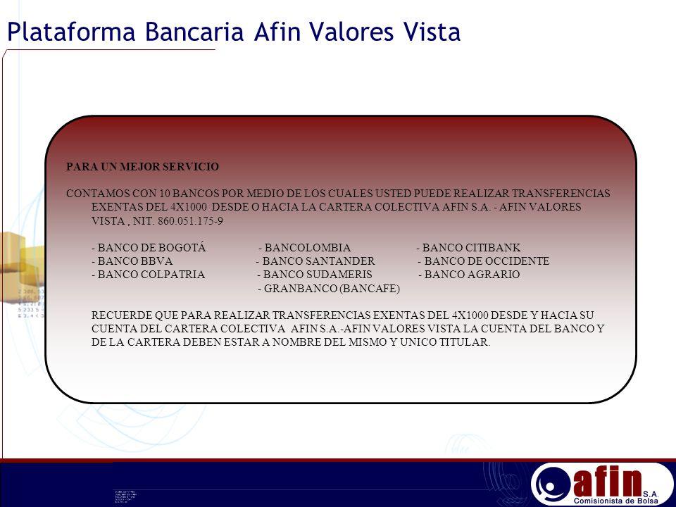 Plataforma Bancaria Afin Valores Vista PARA UN MEJOR SERVICIO CONTAMOS CON 10 BANCOS POR MEDIO DE LOS CUALES USTED PUEDE REALIZAR TRANSFERENCIAS EXENT