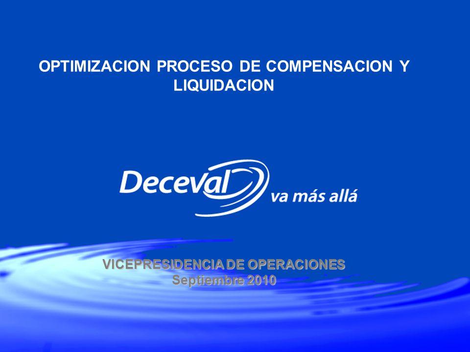 VICEPRESIDENCIA DE OPERACIONES Septiembre 2010 OPTIMIZACION PROCESO DE COMPENSACION Y LIQUIDACION