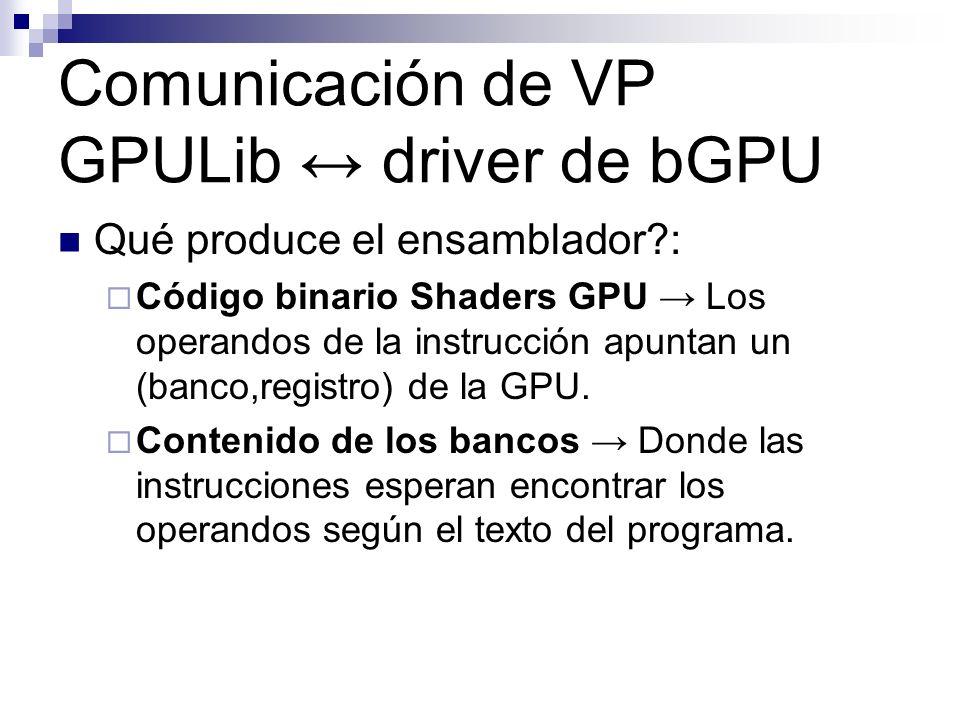 Comunicación de VP GPULib driver de bGPU Qué produce el ensamblador?: Código binario Shaders GPU Los operandos de la instrucción apuntan un (banco,reg