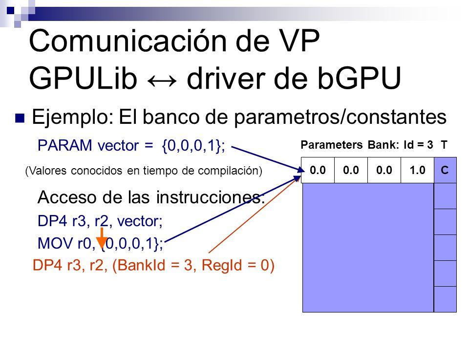 Ejemplo: El banco de parametros/constantes PARAM vector = {0,0,0,1}; Acceso de las instrucciones: DP4 r3, r2, vector; MOV r0, {0,0,0,1}; Parameters Ba