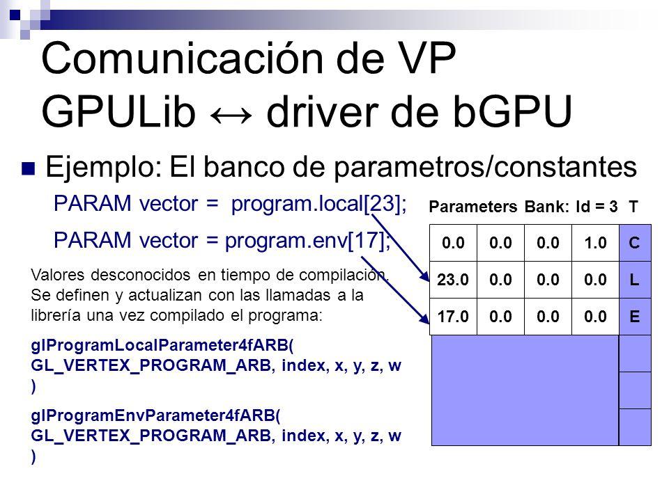 Ejemplo: El banco de parametros/constantes PARAM vector = program.local[23]; PARAM vector = program.env[17]; Comunicación de VP GPULib driver de bGPU