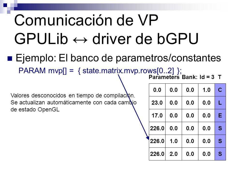 Ejemplo: El banco de parametros/constantes PARAM mvp[] = { state.matrix.mvp.rows[0..2] }; Comunicación de VP GPULib driver de bGPU Valores desconocido