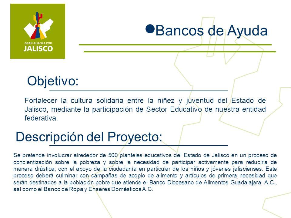 Fortalecer la cultura solidaria entre la niñez y juventud del Estado de Jalisco, mediante la participación de Sector Educativo de nuestra entidad federativa.