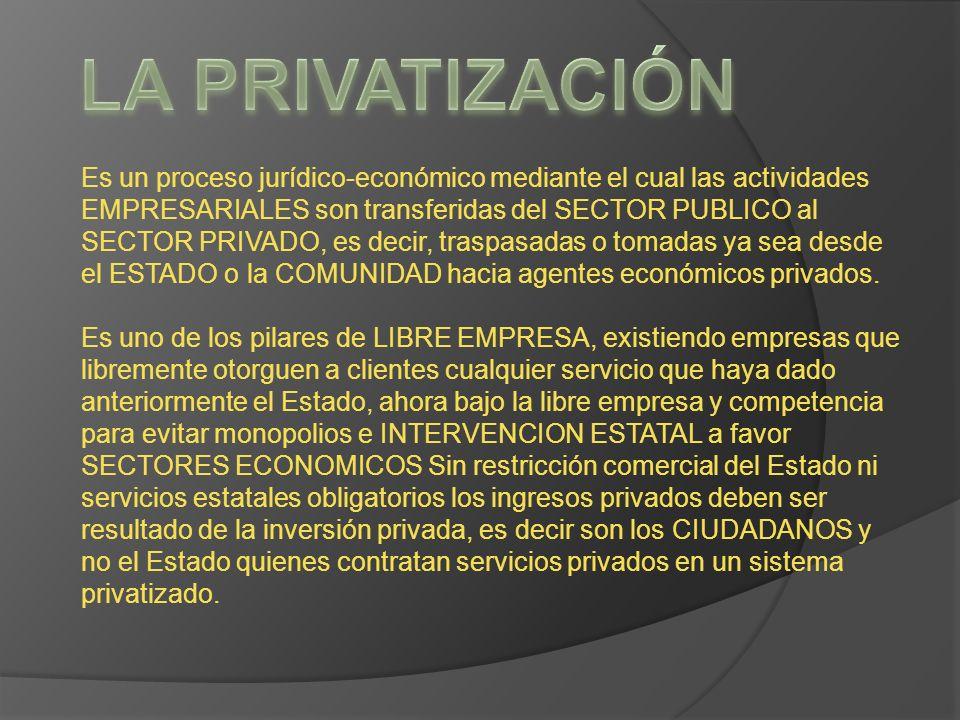 Es un proceso jurídico-económico mediante el cual las actividades EMPRESARIALES son transferidas del SECTOR PUBLICO al SECTOR PRIVADO, es decir, trasp