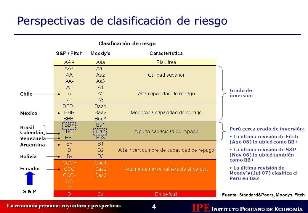 Perspectivas de clasificaci ó n de riesgo Clasificación de riesgo Fuente: Standard&Poors, Moodys, Fitch Grado de inversión Brasil Colombia Chile Argen