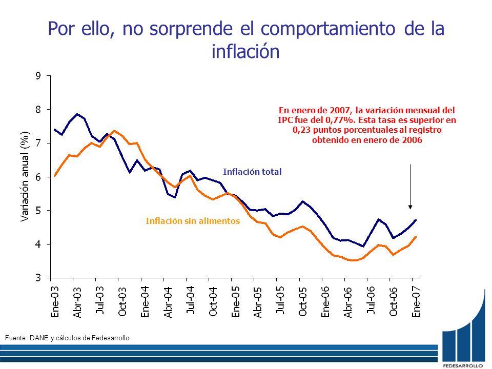 Por ello, no sorprende el comportamiento de la inflación En enero de 2007, la variación mensual del IPC fue del 0,77%. Esta tasa es superior en 0,23 p