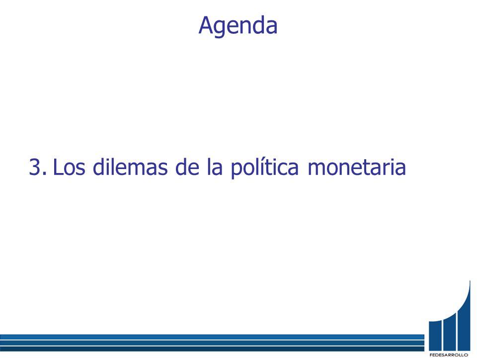 Agenda 1.Estamos cerca de un quiebre estructural. 2.Inflación, tasa de cambio, desempleo. 3.Los dilemas de la política monetaria 4.La encrucijada come
