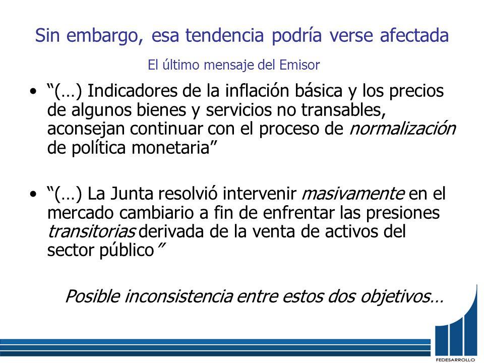 Sin embargo, esa tendencia podría verse afectada (…) Indicadores de la inflación básica y los precios de algunos bienes y servicios no transables, aco