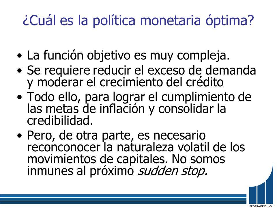 ¿Cuál es la política monetaria óptima? La función objetivo es muy compleja. Se requiere reducir el exceso de demanda y moderar el crecimiento del créd