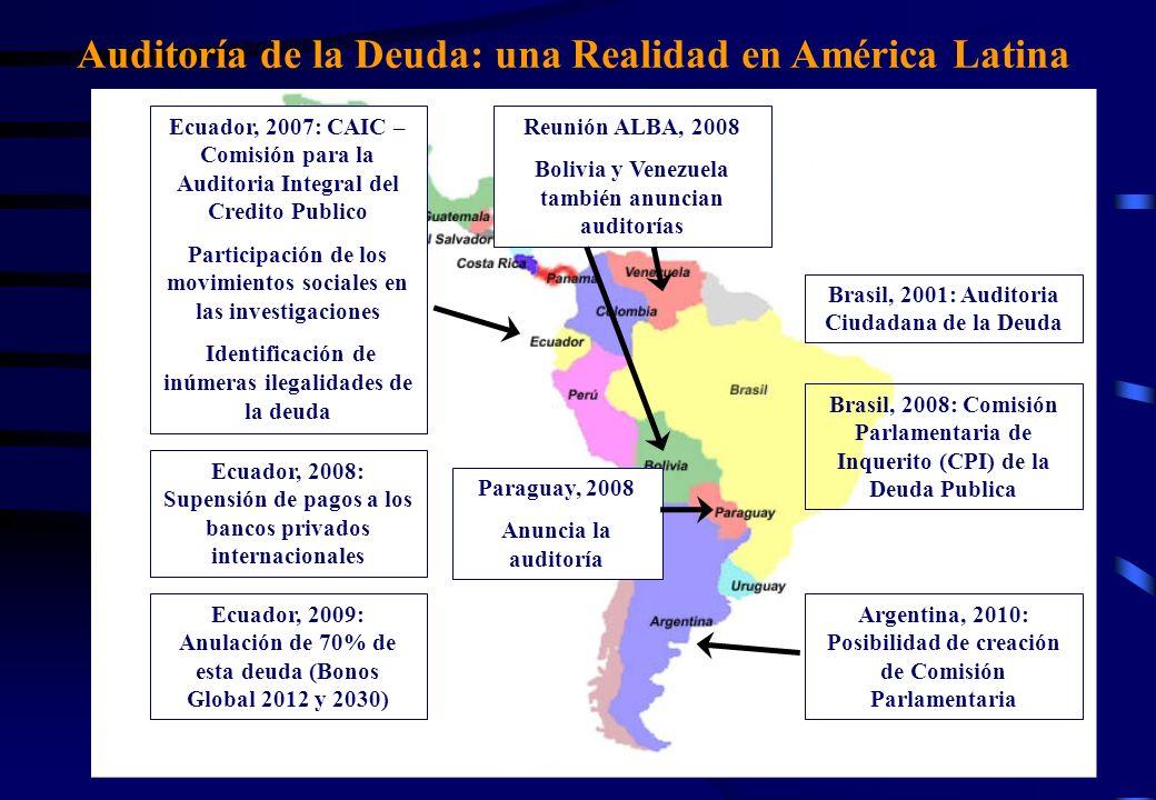 Auditoría de la Deuda: una Realidad en América Latina Brasil, 2001: Auditoria Ciudadana de la Deuda Ecuador, 2007: CAIC – Comisión para la Auditoria Integral del Credito Publico Participación de los movimientos sociales en las investigaciones Identificación de inúmeras ilegalidades de la deuda Ecuador, 2008: Supensión de pagos a los bancos privados internacionales Ecuador, 2009: Anulación de 70% de esta deuda (Bonos Global 2012 y 2030) Reunión ALBA, 2008 Bolivia y Venezuela también anuncian auditorías Paraguay, 2008 Anuncia la auditoría Brasil, 2008: Comisión Parlamentaria de Inquerito (CPI) de la Deuda Publica Argentina, 2010: Posibilidad de creación de Comisión Parlamentaria