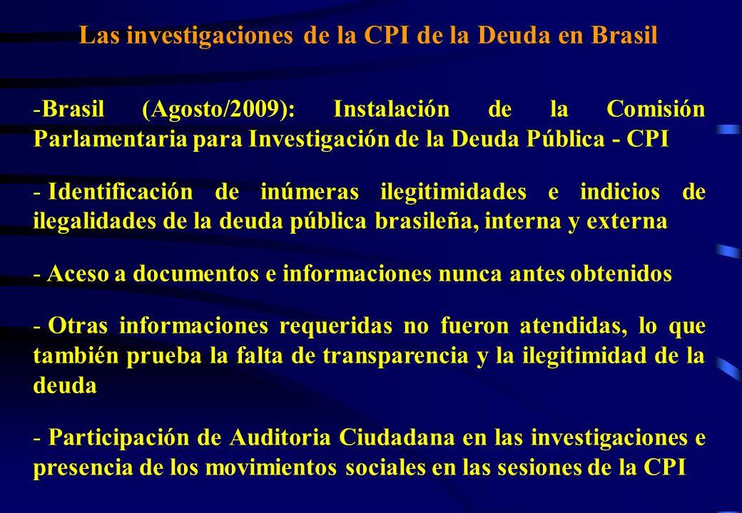 Las investigaciones de la CPI de la Deuda en Brasil -Brasil (Agosto/2009): Instalación de la Comisión Parlamentaria para Investigación de la Deuda Pública - CPI - Identificación de inúmeras ilegitimidades e indicios de ilegalidades de la deuda pública brasileña, interna y externa - Aceso a documentos e informaciones nunca antes obtenidos - Otras informaciones requeridas no fueron atendidas, lo que también prueba la falta de transparencia y la ilegitimidad de la deuda - Participación de Auditoria Ciudadana en las investigaciones e presencia de los movimientos sociales en las sesiones de la CPI