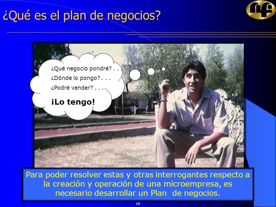 10 ¿Qué es el plan de negocios? Para poder resolver estas y otras interrogantes respecto a la creación y operación de una microempresa, es necesario d
