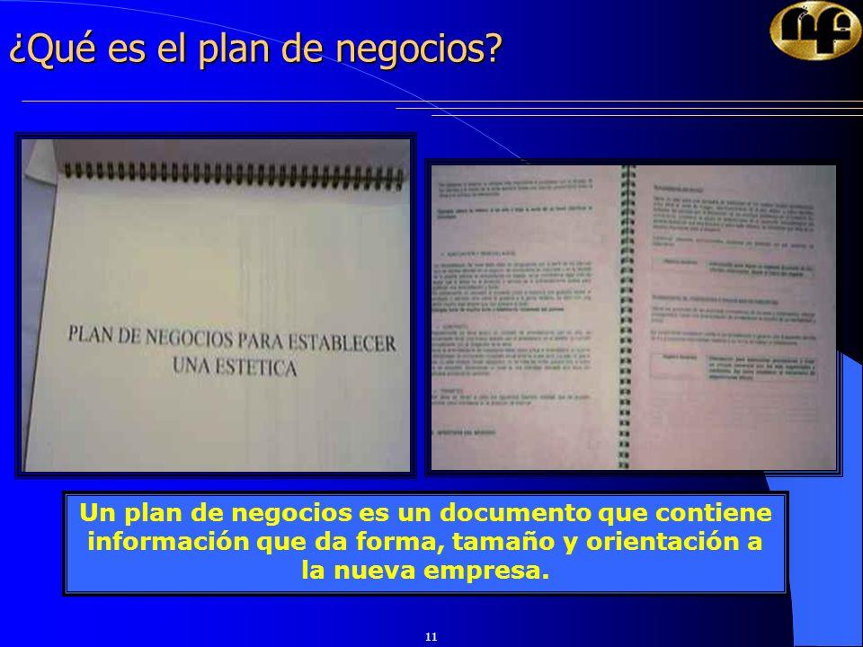 11 ¿Qué es el plan de negocios? Un plan de negocios es un documento que contiene información que da forma, tamaño y orientación a la nueva empresa.