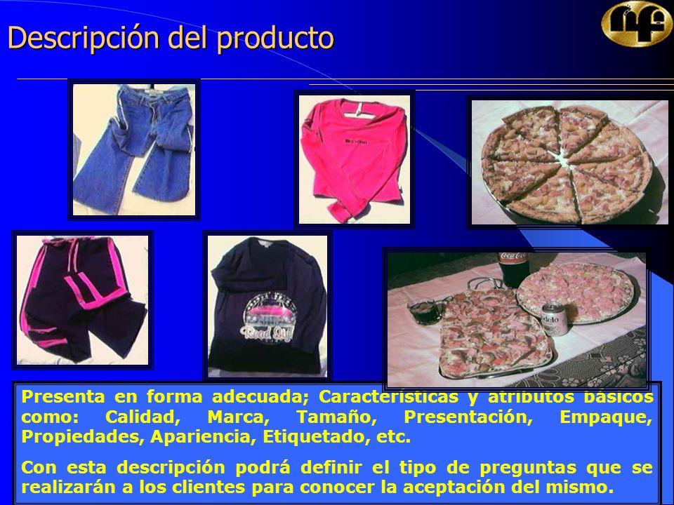 12 Descripción del producto Presenta en forma adecuada; Características y atributos básicos como: Calidad, Marca, Tamaño, Presentación, Empaque, Propi