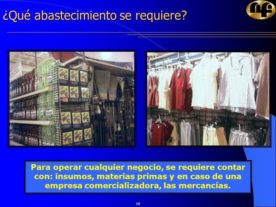 18 ¿Qué abastecimiento se requiere? Para operar cualquier negocio, se requiere contar con: insumos, materias primas y en caso de una empresa comercial
