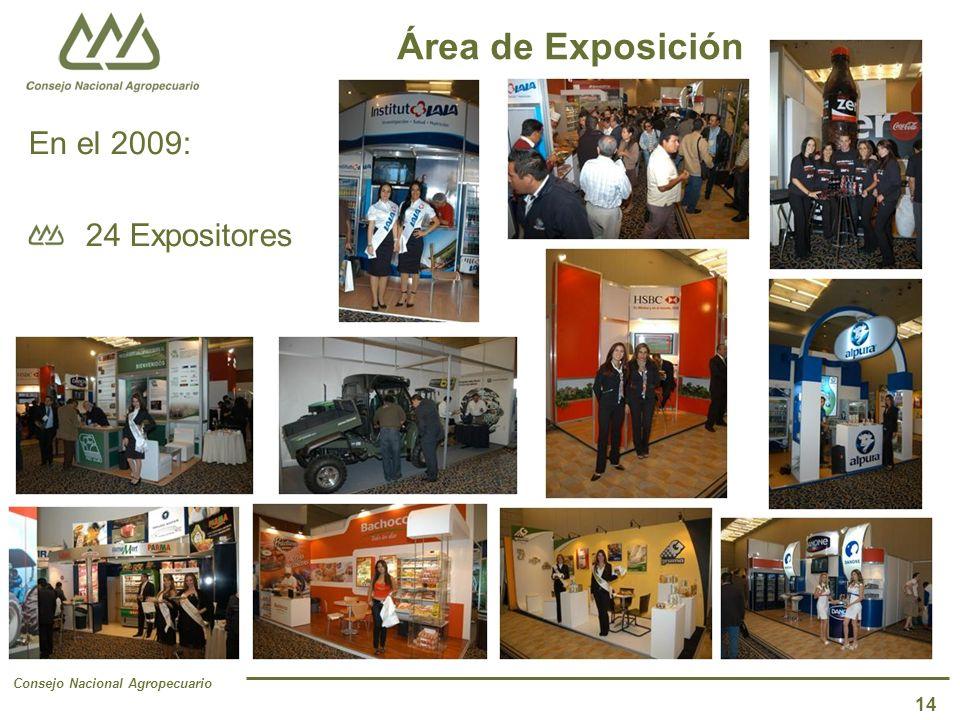 Consejo Nacional Agropecuario 14 Área de Exposición En el 2009: 24 Expositores