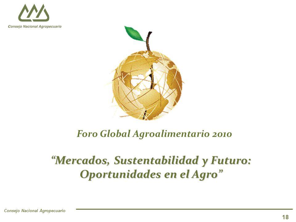 Consejo Nacional Agropecuario 18 Mercados, Sustentabilidad y Futuro: Oportunidades en el Agro Foro Global Agroalimentario 2010