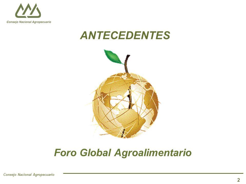 Consejo Nacional Agropecuario 2 ANTECEDENTES Foro Global Agroalimentario