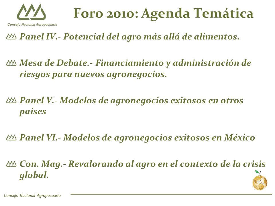 Consejo Nacional Agropecuario Foro 2010: Agenda Temática Panel IV.- Potencial del agro más allá de alimentos.